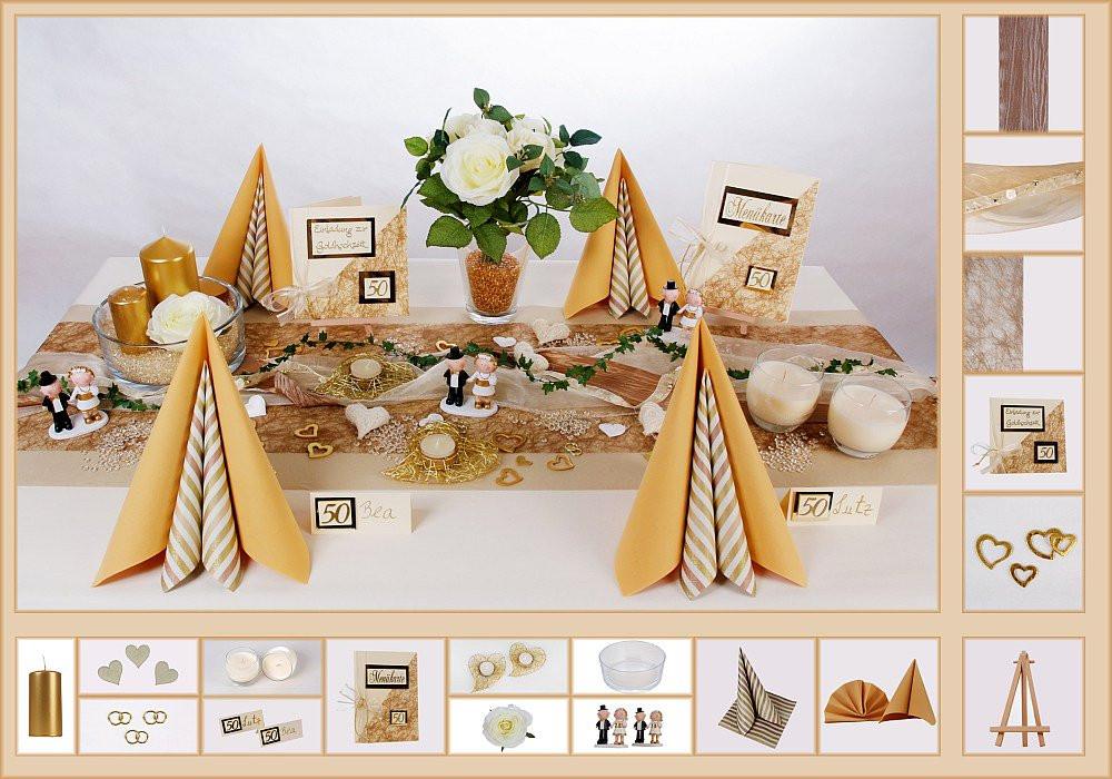 Tischdeko Hochzeit Mustertische  Tischdeko Goldene Hochzeit 4 in Dune als Mustertisch