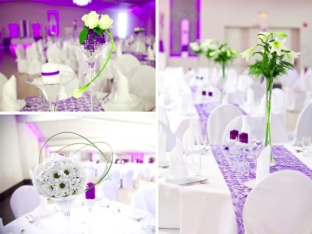 """Tischdeko Hochzeit Runde Tische  Hochzeitssaal """"Eventsaal eXklusiv"""" in Erwitte Raum"""