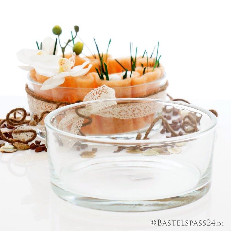 Tischdeko Hochzeit Runde Tische  Tischdeko Hochzeit für runde Tische mit runder Glasschale
