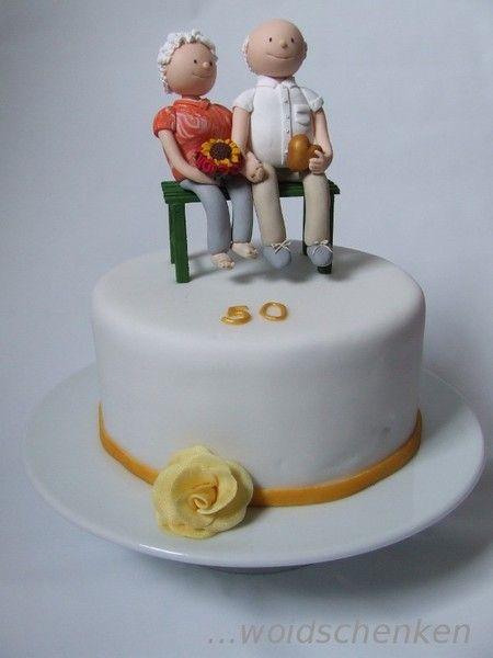 """Torte Goldene Hochzeit  Torte """"Goldene Hochzeit"""" mit Tortenfiguren"""