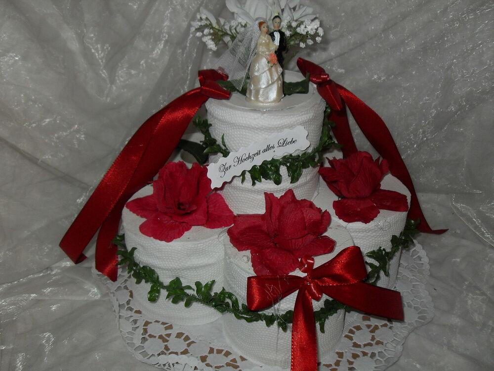 Torte Hochzeit  Hochzeit Toilettenpapier Torte Geldgeschenk bordeaux