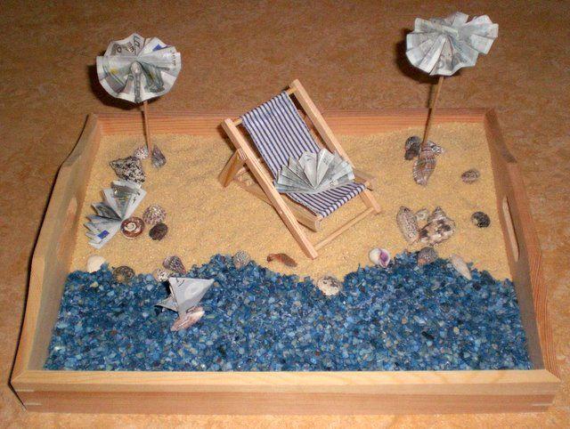 Urlaub Hochzeit  Geldgeschenk Strand Geschenke Verpackung
