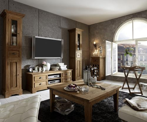 Vintage Wohnzimmer  Vintage Wohnzimmer Set 6tlg Teak massiv TV Lowboard