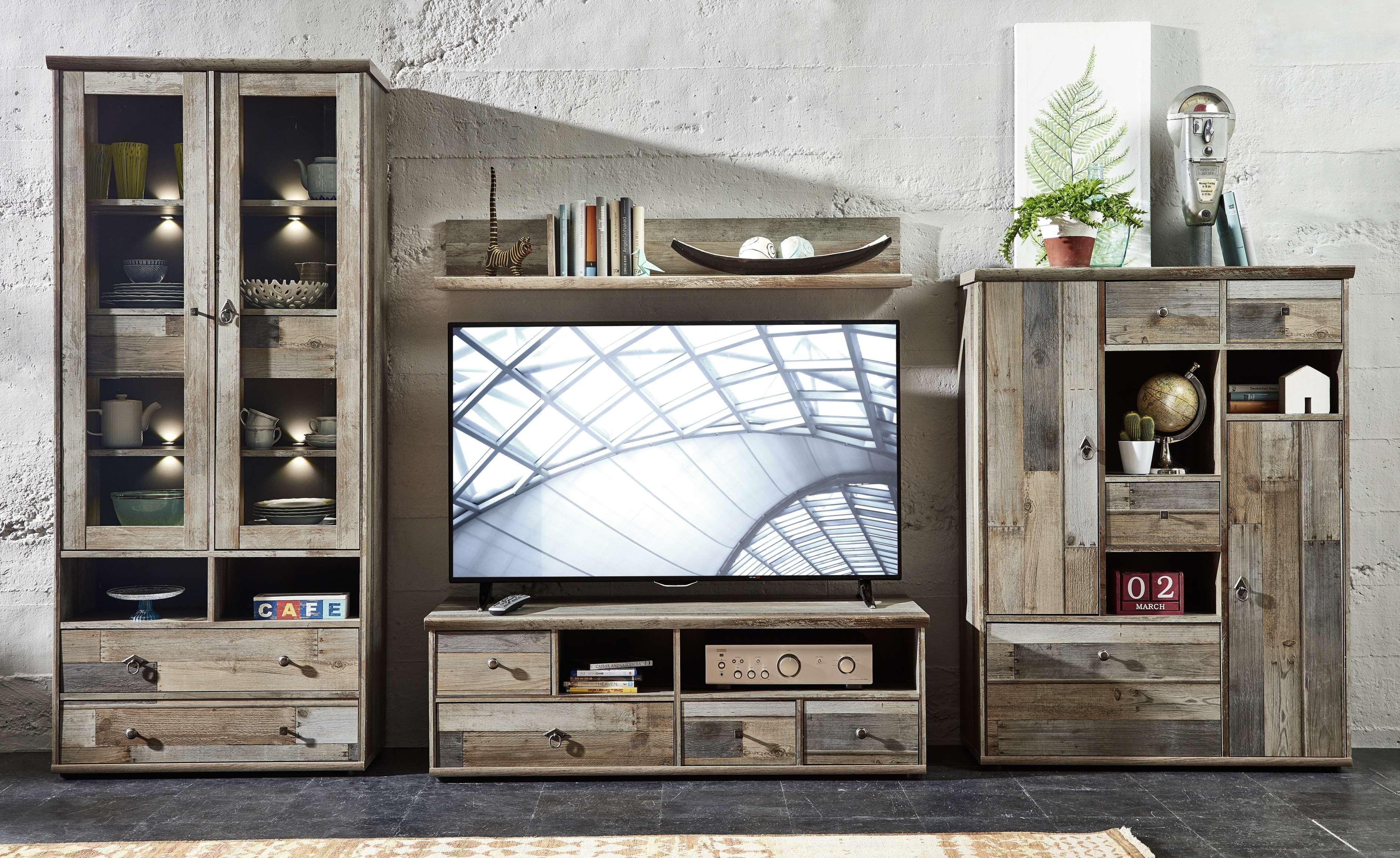Vintage Wohnzimmer  Wohnwand Wohnzimmer Set Vitrine Lowboard Wandregal TV
