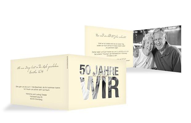 Vortrag Für Goldene Hochzeit  Einladungskarten für Goldene Hochzeit – edel & individuell