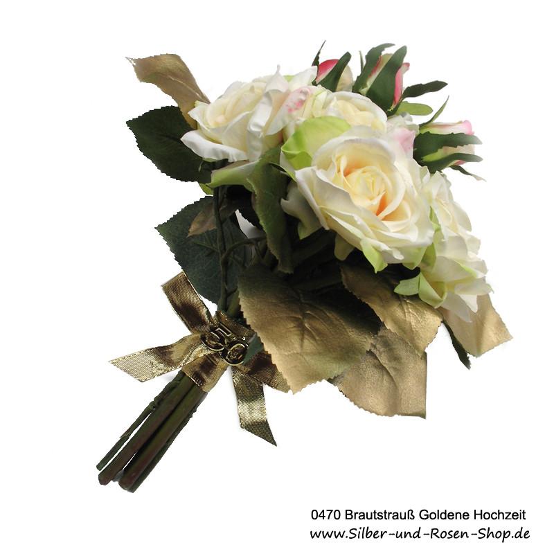 Vortrag Für Goldene Hochzeit  Brautstrauß Goldene Hochzeit aus Seidenblumen online bestellen
