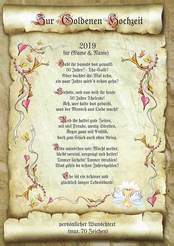 Vortrag Für Goldene Hochzeit  Urkunde zur goldenen Hochzeit line Geschenkeshop mit
