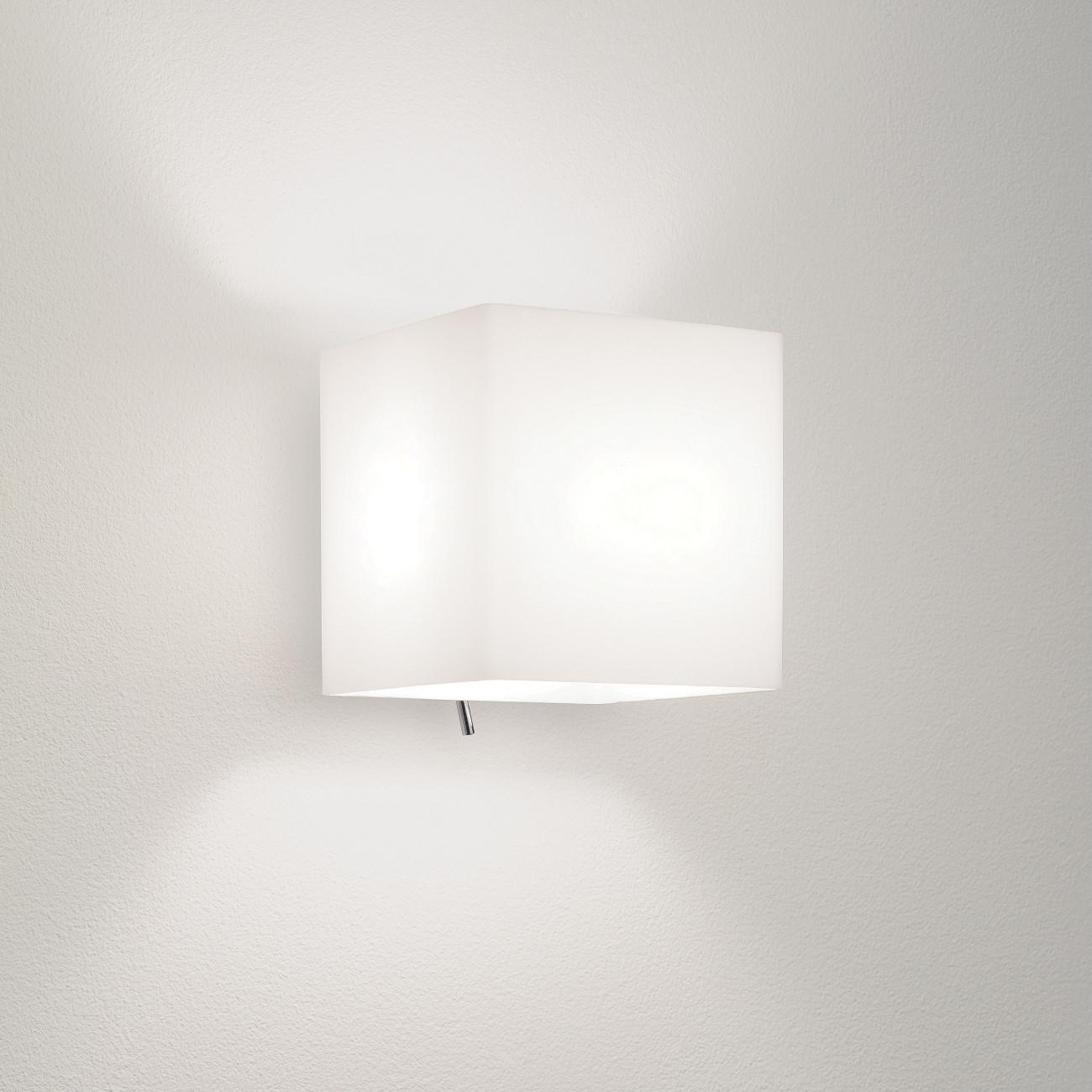 Wandlampe Mit Schalter  Quadratische Wandlampe Glas matt mit Kipp Schalter LUGA