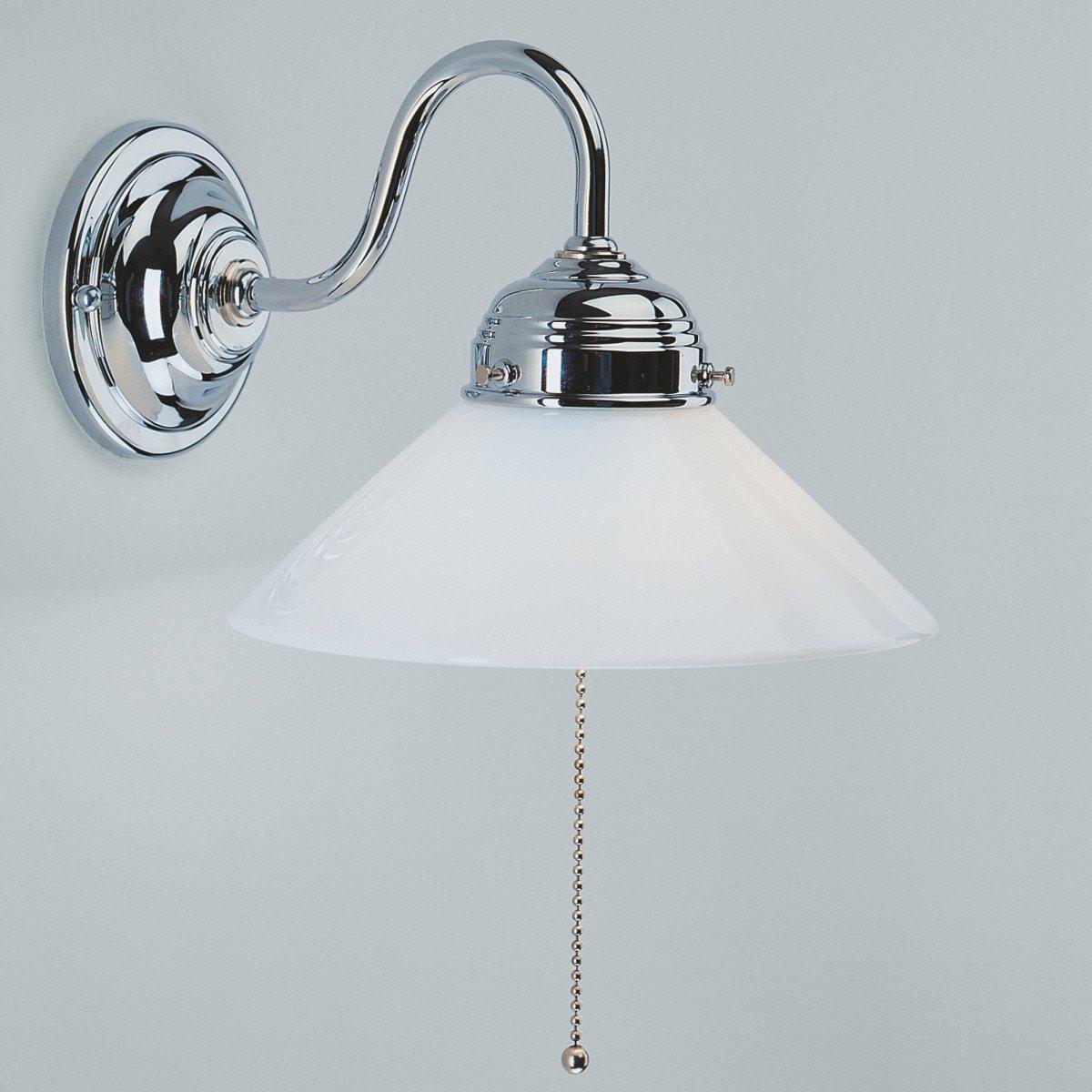Wandlampe Mit Schalter  PAULA Wandleuchte mit Zugschalter in Messing mit weißem