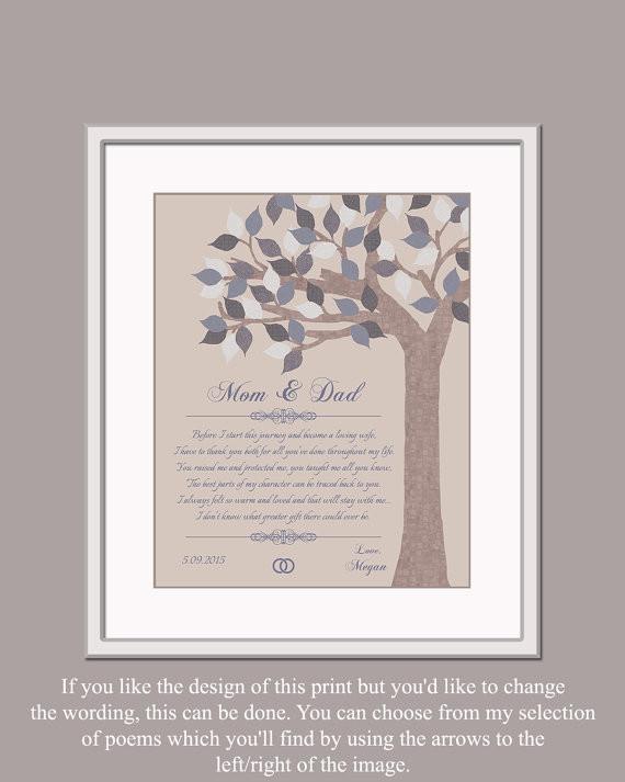 Was Schenken Eltern Zur Hochzeit Des Sohnes  Mama und Papa Hochzeitsgeschenk Geschenk von Braut Gedicht