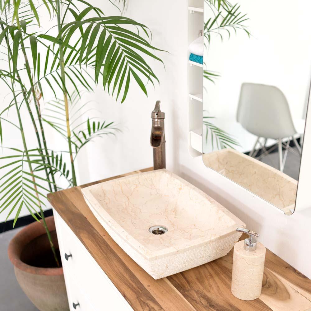 Waschbecken Eckig  Marmor Waschbecken eckig creme – bei wohnfreuden kaufen