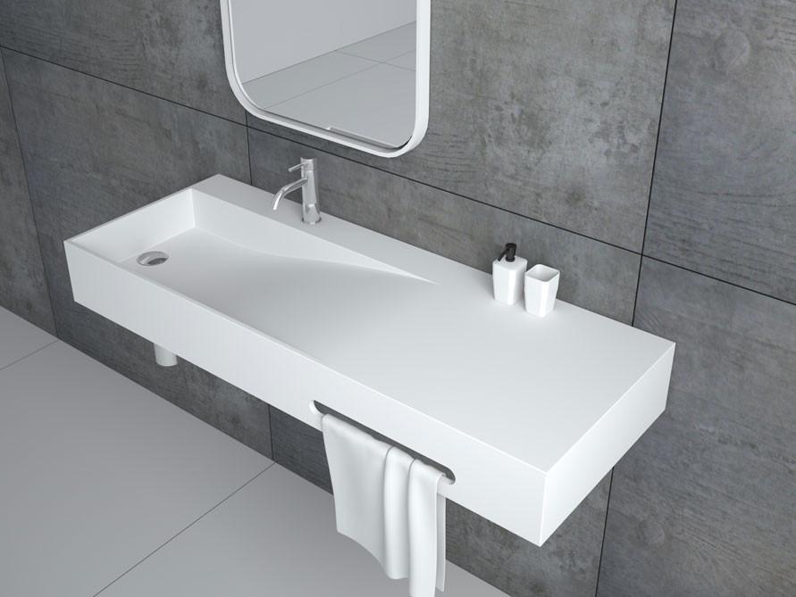 Waschbecken Eckig  Tanaro Waschbecken Mineralguss Weiß matt oder glänzend