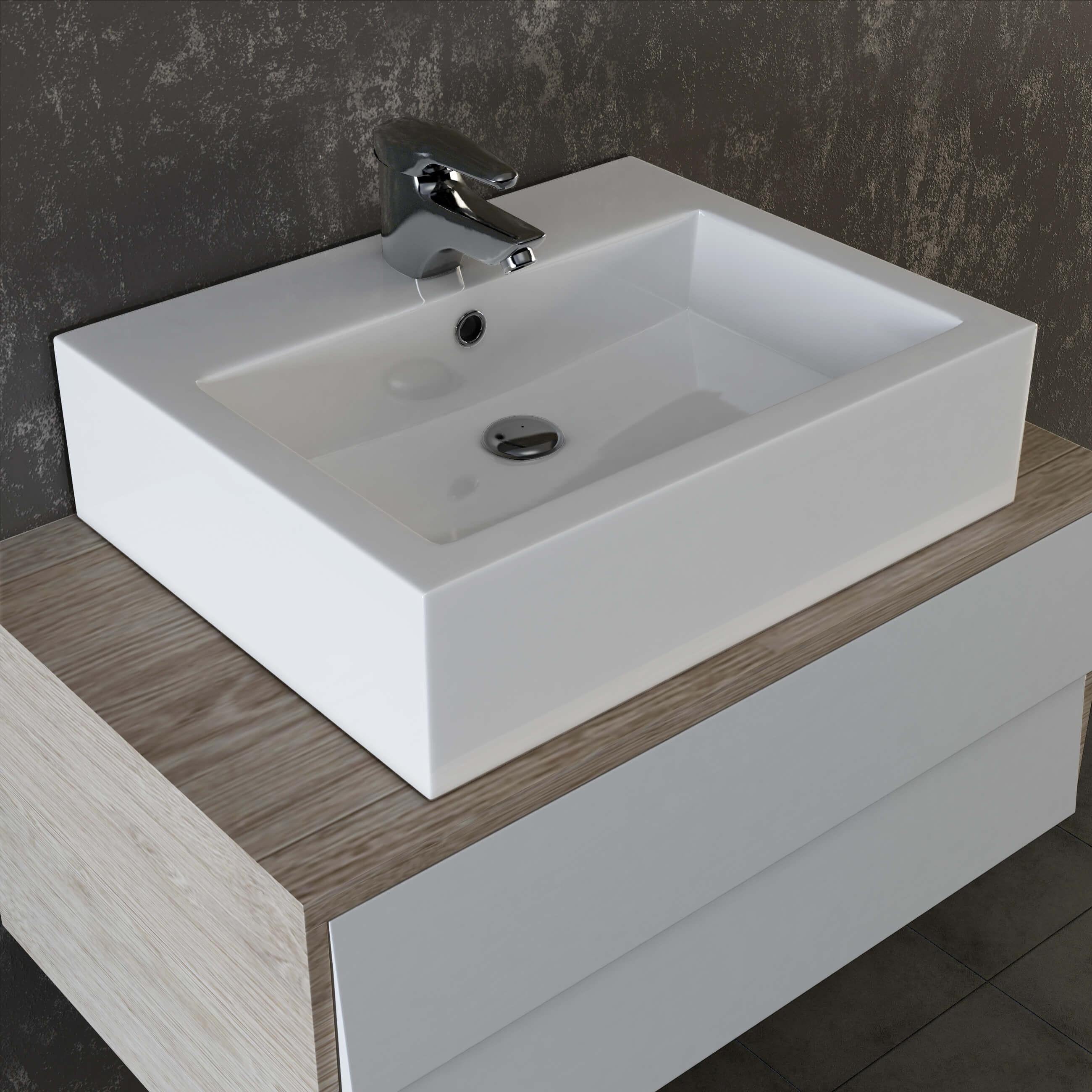Waschbecken Eckig  VILSTEIN© Keramik Waschbecken Hängewaschbecken