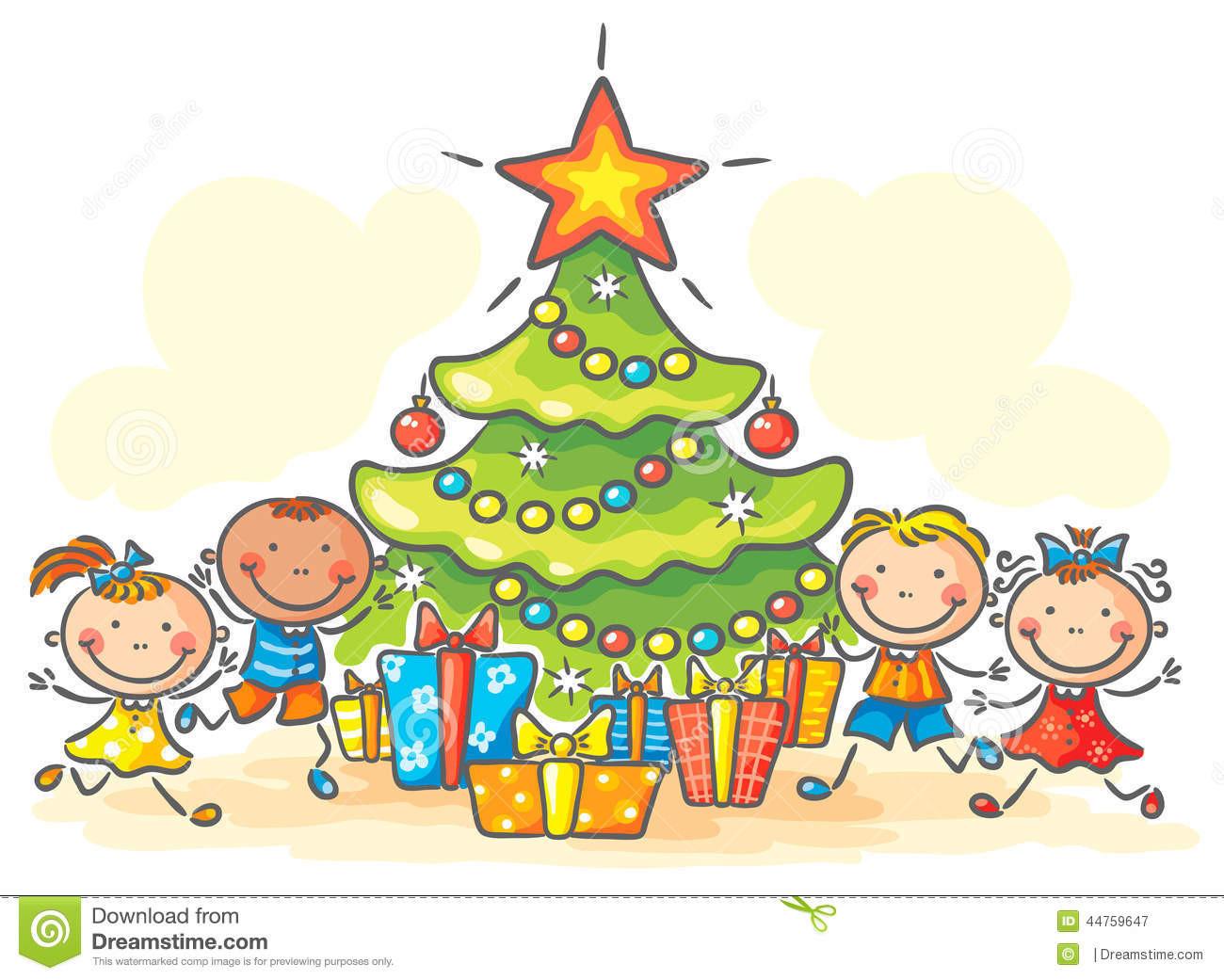 Weihnachten Geschenke  Kinder Die Geschenke Für Weihnachten Erhalten Vektor
