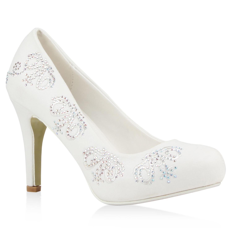 Weiße Schuhe Hochzeit  Weiße Damen Brautschuhe Strass Pumps Hochzeit Schuhe