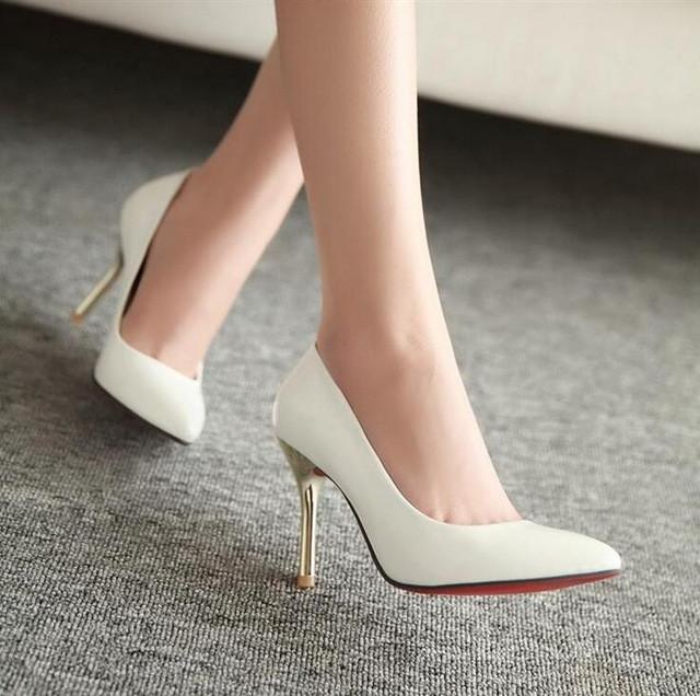 Weiße Schuhe Hochzeit  Rote untere hohe absätze spitz Frauen Pumpt Hochzeit