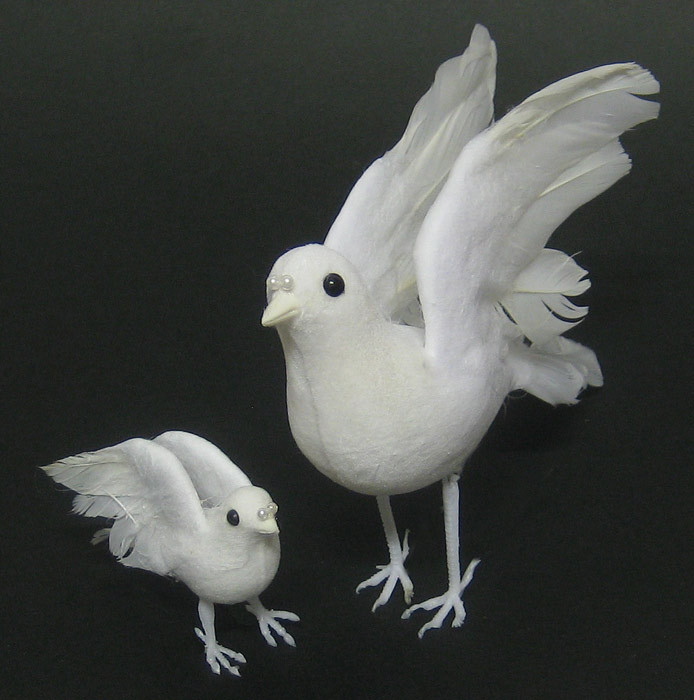 Weiße Tauben Hochzeit  Hochzeitstaube sitzend 17 cm Dekotauben Hochzeitsschmuck