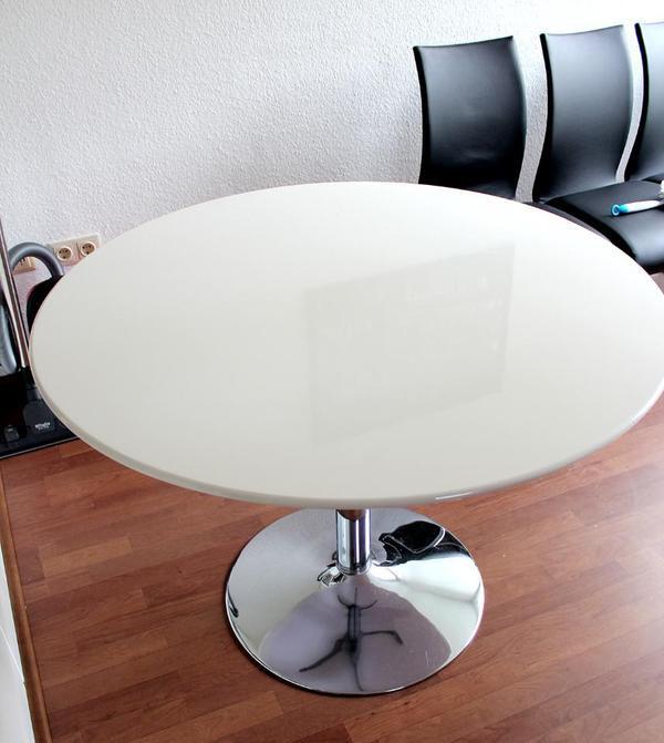 Weißer Tisch  Weißer runder Tisch 110 cm in Detmold Speisezimmer