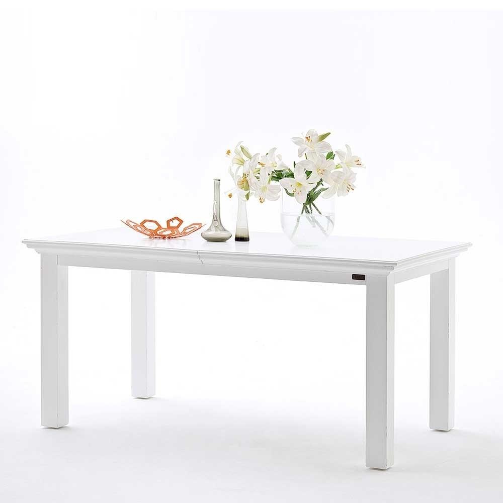 Weißer Tisch  Weißer Tisch & 4 Rattan Sessel als Essgruppe 5 teilig