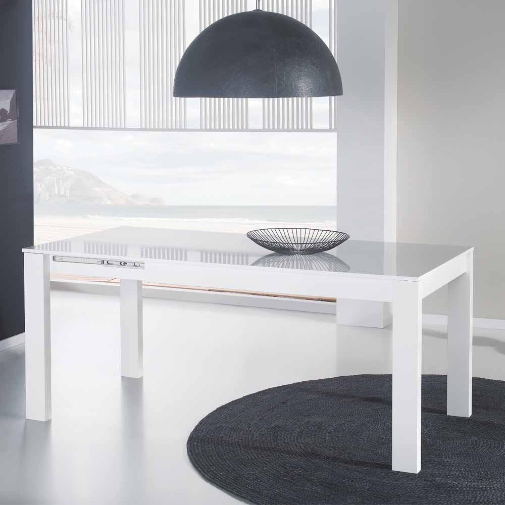 Weißer Tisch  Weißer Tisch in Hochglanz ausziehbar Rodiccar