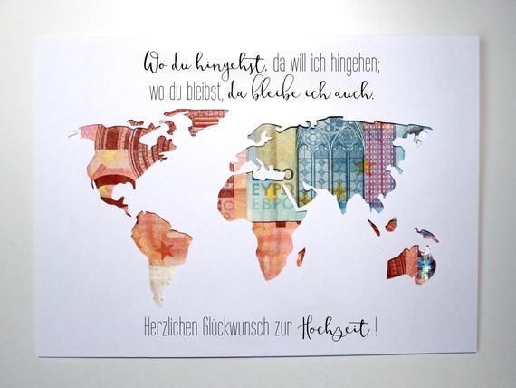 Weltkarte Hochzeit  Geldgeschenk zur Hochzeit Weltkarte Farbwahl Individuelles
