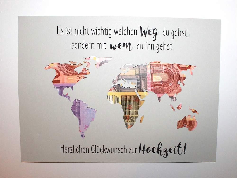 Weltkarte Hochzeit  Geldgeschenke Geldgeschenk zur Hochzeit Weltkarte