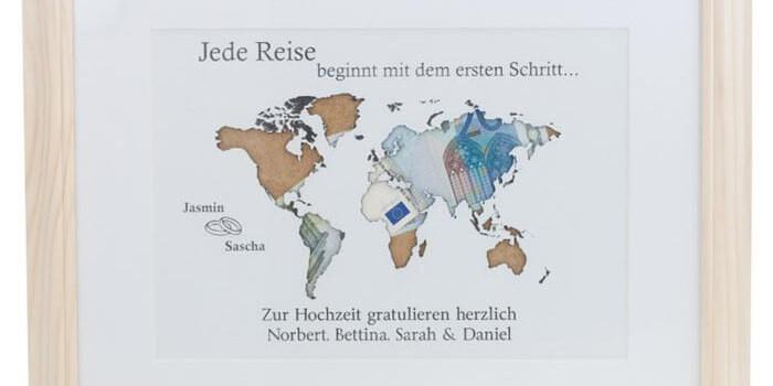 Weltkarte Hochzeit  Geldgeschenk Weltkarte