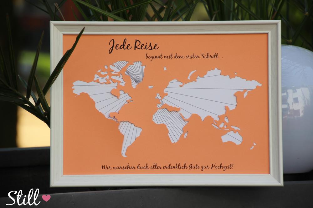 Weltkarte Hochzeit  Geldgeschenke Geldgeschenk Weltkarte Hochzeit Peach