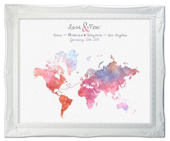 Weltkarte Hochzeit  Benutzerdefinierte Karte Hochzeit Karte Langstrecken