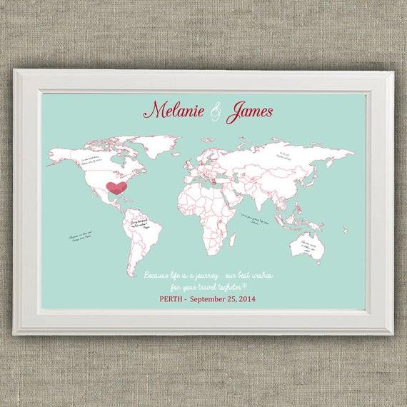 Weltkarte Hochzeit  Reisen Sie Thema Hochzeit Gäste Buch Alternative Weltkarte