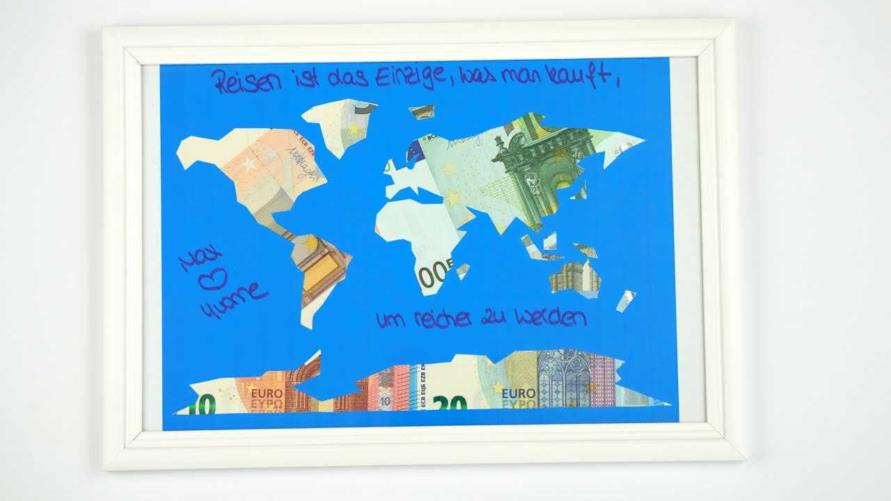 Weltkarte Hochzeit  Geldgeschenk HOCHZEIT eine Weltkarte mit GELD basteln