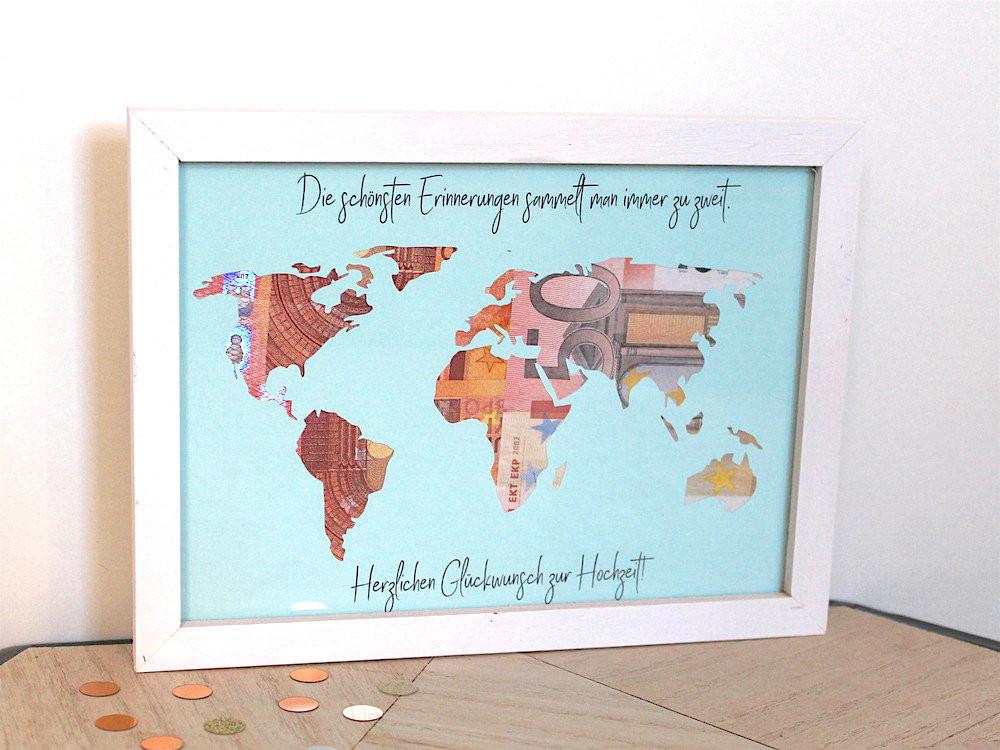Weltkarte Hochzeit  Geldgeschenk zur Hochzeit Weltkarte mit Rahmen