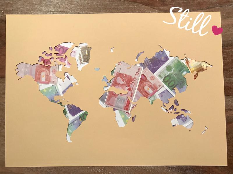 Weltkarte Hochzeit  Geldgeschenke Geldgeschenk Weltkarte ein
