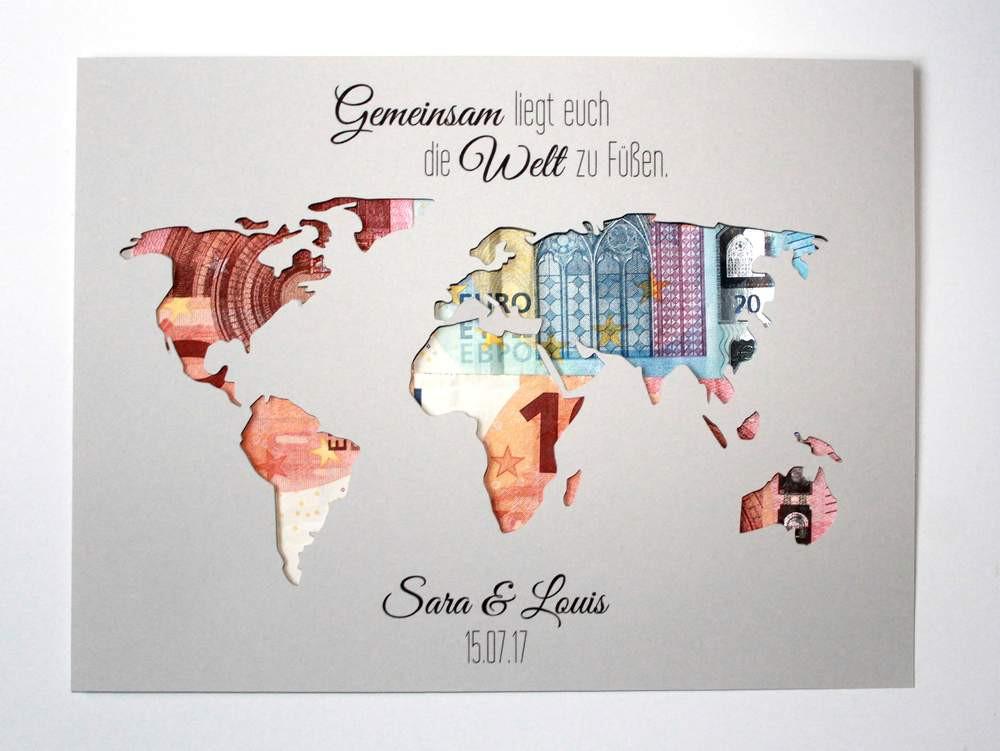 Weltkarte Hochzeit  Geldgeschenke Geldgeschenk zur Hochzeit Weltkarte mit