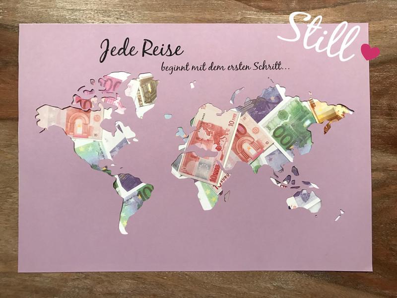 Weltkarte Hochzeit  Hochzeit Geldgeschenk Weltkarte Jede Reise beginnt