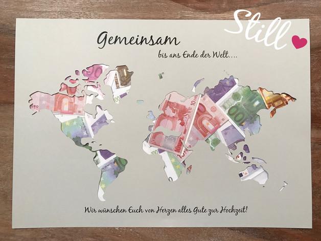 Weltkarte Hochzeit  Hochzeit Geldgeschenk Weltkarte Gemeinsam Von Herzen