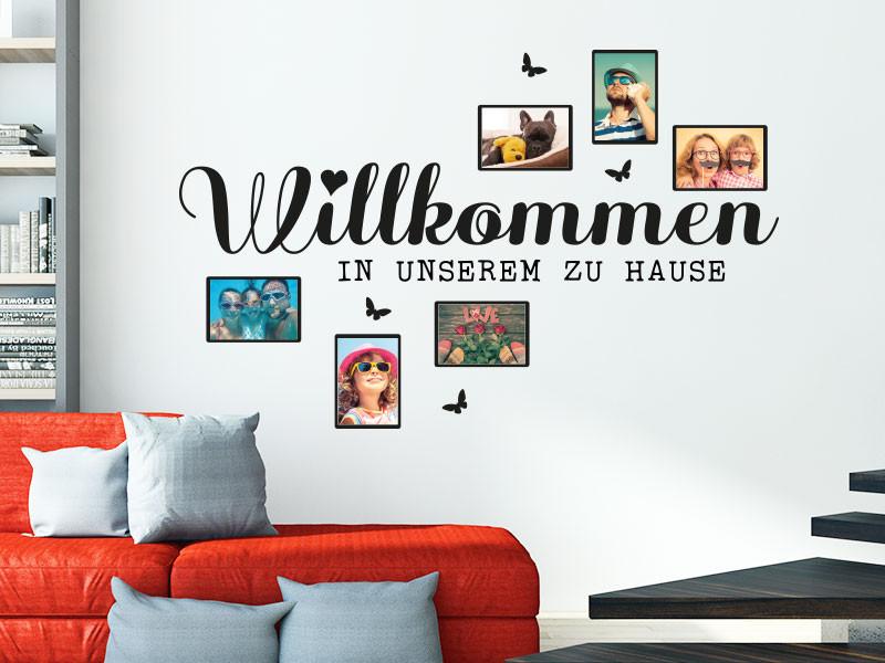 Willkommen Zu Hause  Wandtattoo Fotorahmen Willkommen in unserem zu Hause