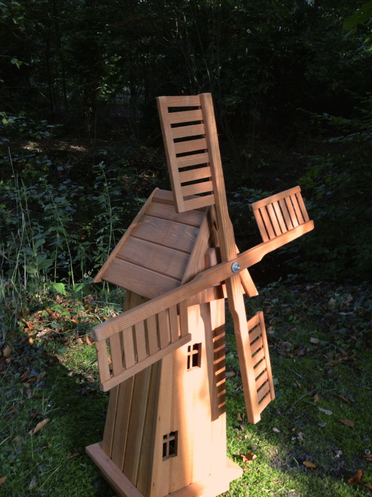 Windmühle Garten  Windmühle aus Holz handgefertigte Holzwindmühle Garten