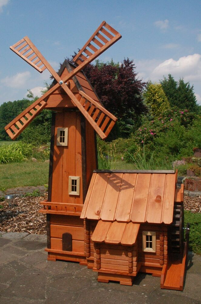 Windmühle Garten  Windmühle mit integrierter Wassermühle impräg kugelg