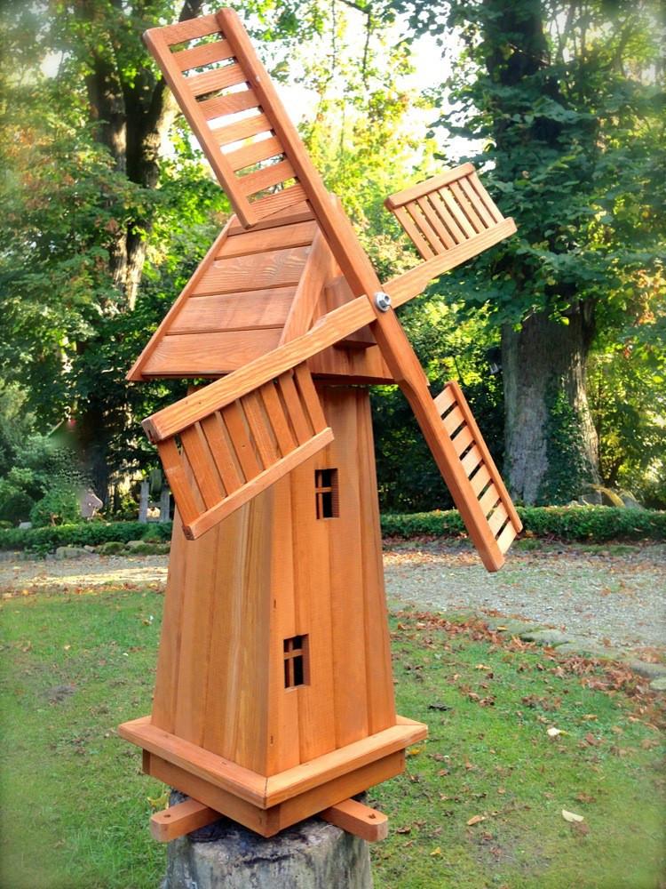 Windmühle Garten  Windmühle aus Holz Holzwindmühle Garten Deko Mühle