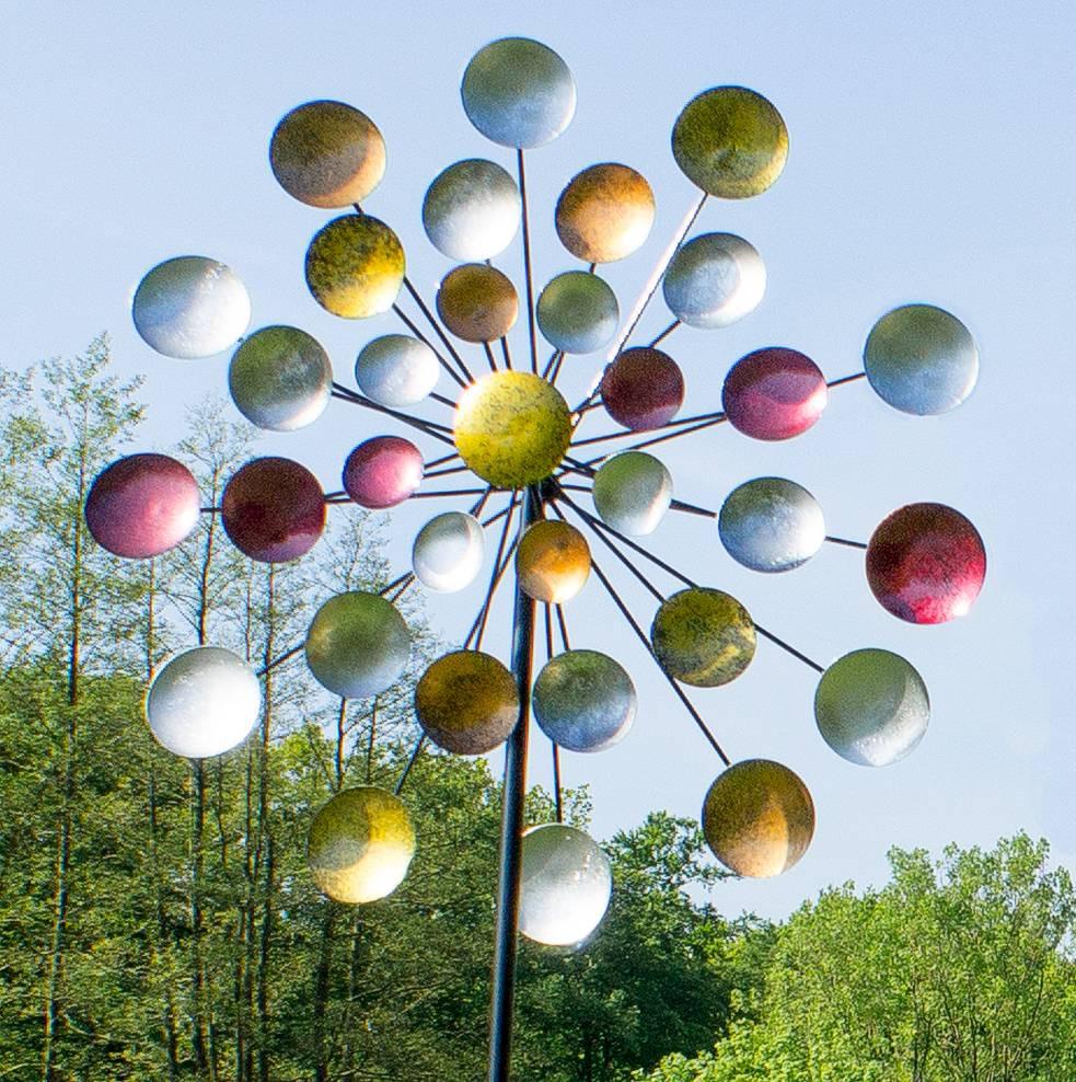 Windrad Garten  Windrad Regenbogen Gartenstecker Metall Windspiel Höhe 197