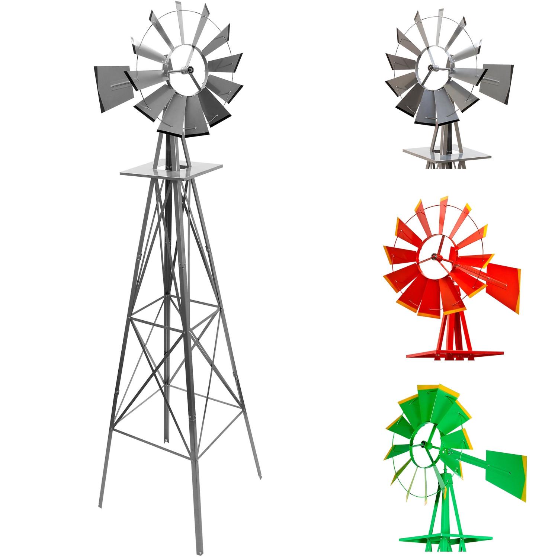 Windrad Garten  Gigantisches Windrad 245cm US Style silbergrau
