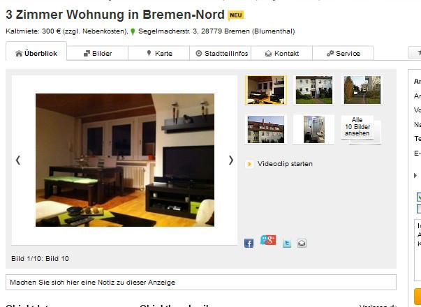 Wohnung Bremen  wohnungsbetrug