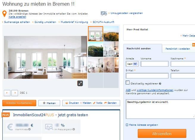 Wohnung Bremen  wohnungsbetrug pedersen mikkel hotmail