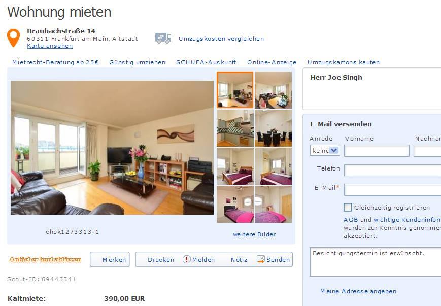 Wohnung Mieten Frankfurt  wohnungsbetrug joengh01 hotmail alias