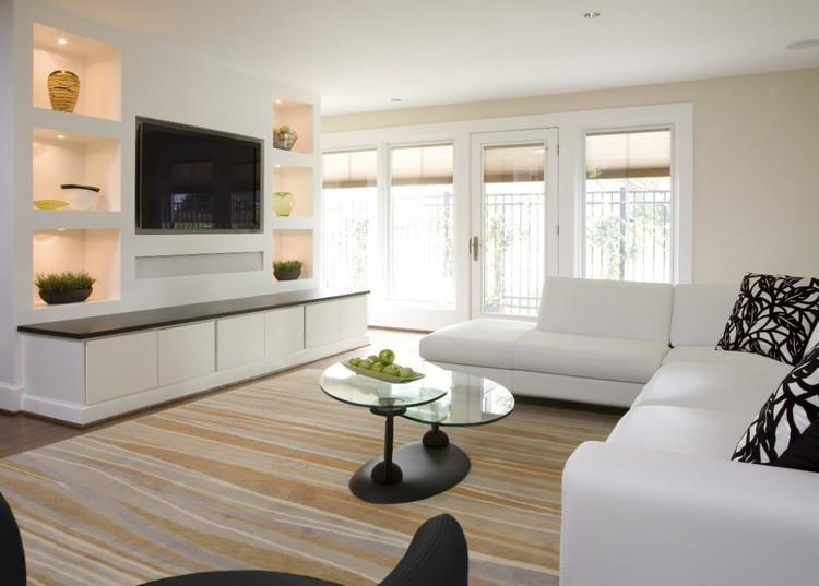 Wohnwand Mit Beleuchtung  Moderne Wohnwand mit LED Beleuchtung 55 Ideen