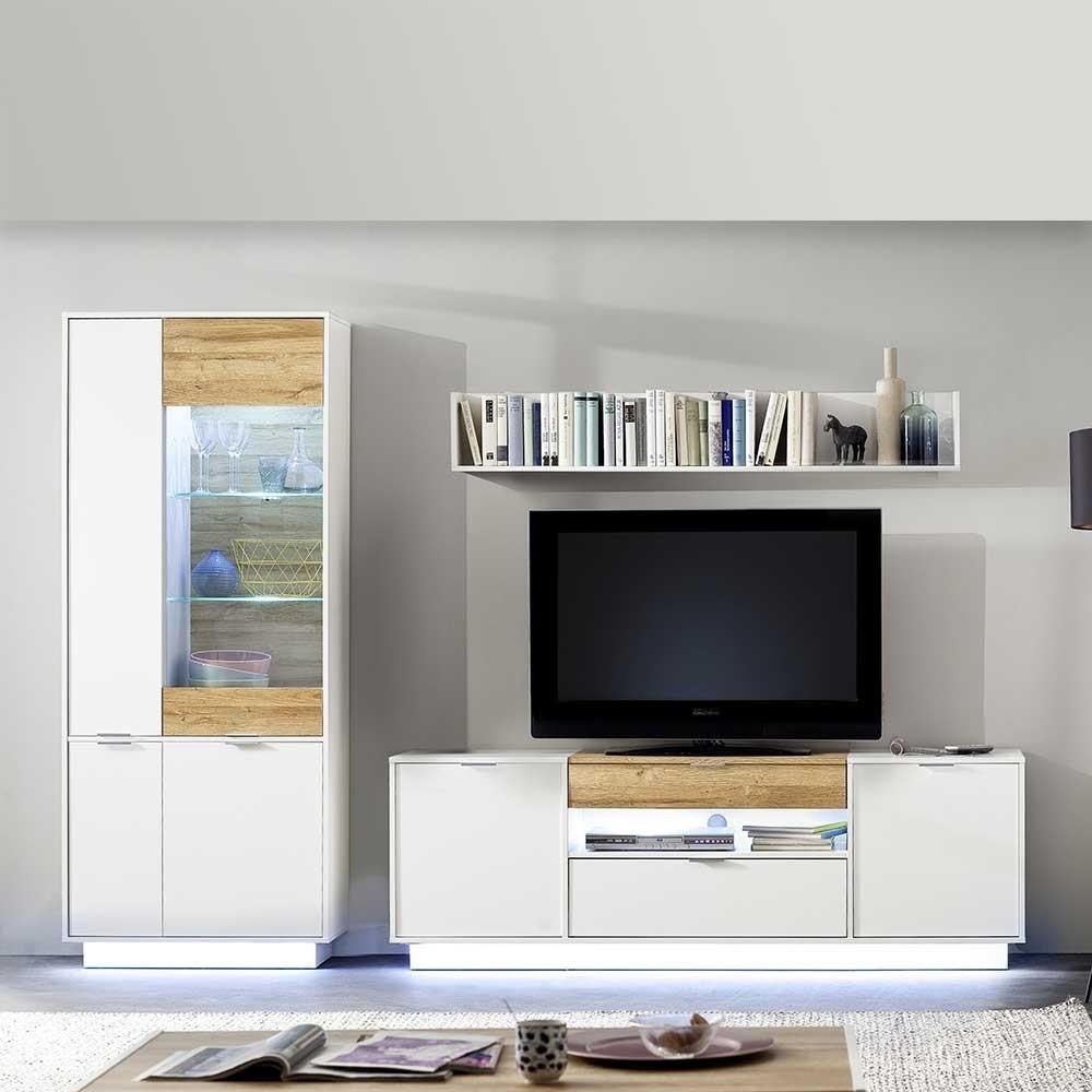 Wohnwand Mit Beleuchtung  TV Wohnwand mit Beleuchtung optional in Weiß & Eiche 278cm