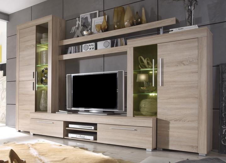 Wohnwand Mit Beleuchtung  Wohnwand mit LED Beleuchtung Moderne Möbel