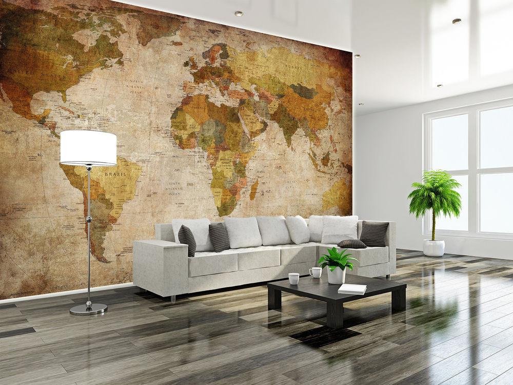 Wohnzimmer Bilder Xxl  Retro Weltkarte Globus XXL Wanddekoration Wohnzimmer