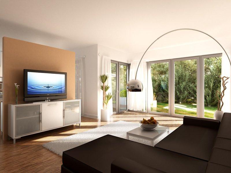 Wohnzimmer Bilder Xxl  Fertighaus Wohnzimmer gestalten mit Bien Zenker Bien